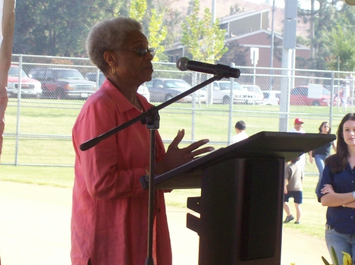 Dorella Anderson speaks at Dusty Baker's ball park dedication