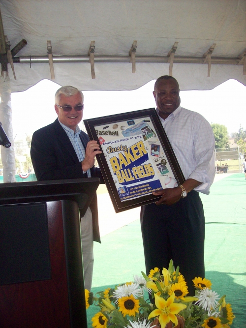 Mayor Loveridge and Dusty Baker