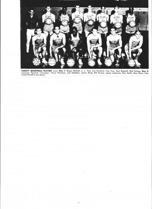Poly High School Varsity Basketball 1965.  The second player in the second row is Joe Stephens. He later became an all s