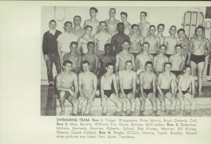 Poly High School Varsity Swimming Team,1953.The third swimmer in row two(McCoy Williams) and the fifth swimmer in row th