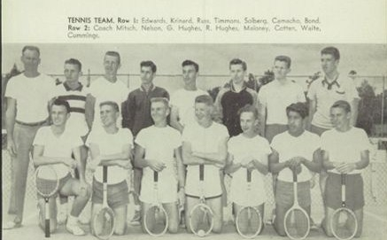 Poly High School Varsity   Tennis,1953. The third tennis player in row two(Gene Hughes) became the first varsity basketb