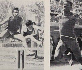 Charles Blackino and Sammy Adame in the hurdles. Bobby Bonds breaking the tape.