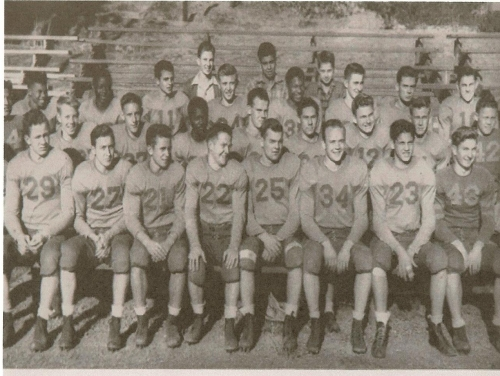 Poly High School Football Team, 1943. The second player in the third row is James Jordan who was All CBL and All Souther