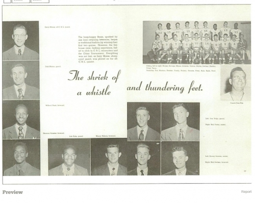 1951 Poly High School Basketball Team. The basketball player in the top far right picture is Bob Porter who later became