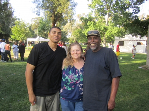 Andre Scott with his parents Sally Scott, and Frank ''Nitty'' Mathews at the     Family Affair picnic
